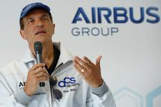 Chief Technical Officer Jean Botti speaks during a news conference before the take off of the new Airbus Group E-Fan electric aircraft, during an attempt to fly across the channel from Lydd Airport in southeast England, Britain July 10, 2015.    REUTERS/Luke MacGregor    - RTX1JU82