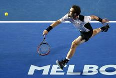 Britain's Andy Murray runs to hit a shot during his semi-final match against Canada's Milos Raonic at the Australian Open tennis tournament at Melbourne Park, Australia, January 29, 2016. REUTERS/Jason O'Brien Action Images via Reuters       T