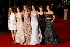 "Actors Hermione Corfield, Ellie Bamber, Suki Waterhouse, Millie Brady, Bella Heathcote and Lily James pose at the European premiere of ""Pride and Prejudice and Zombies"" in Leicester Square, London, Britain February 1, 2016. REUTERS/Stefan Wermuth"