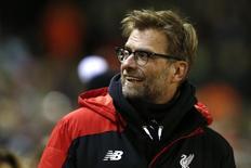 Técnico do Liverpool, Juergen Klopp, durante partida contra o West Ham pela Copa da Inglaterra. 30/01/2016 REUTERS/Phil Noble