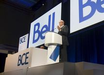 George Cope President and Chief Executive Officer of BCE addresses shareholders at the company's Annual General Meeting, in Toronto April 30 2015. REUTERS/Fred Thornhill