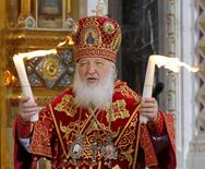 Patriarch of Moscow and all Russia Kirill leads an Orthodox Easter service in the Christ the Saviour Cathedral in Moscow, Russia, in this April 20, 2014 file photo.  REUTERS/Maxim Shemetov/Files