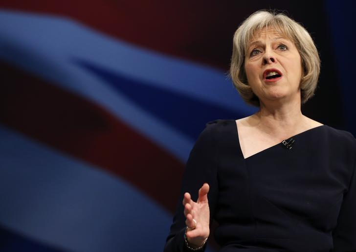 Home Secretary Theresa May speaks on the third day of the Conservative Party Conference in Manchester northern Britain, October 6 , 2015.  REUTERS/Phil Noble