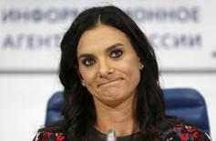 Russian pole vaulter Yelena Isinbayeva attends during a news conference in Moscow, Russia, November 16,2015. REUTERS/Sergei Karpukhin/Files