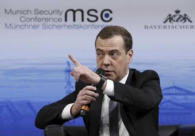 Russian Prime Minister Dmitry Medvedev answers a question from the audience at the Munich Security Conference in Munich, Germany, February 13, 2016. REUTERS/Dmitry Astakhov/Sputnik/Pool