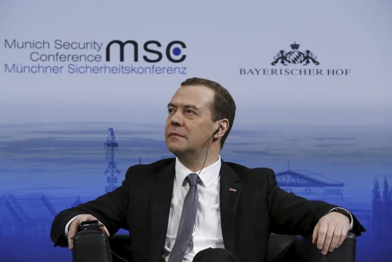 Russian Prime Minister Dmitry Medvedev attends the Munich Security Conference in Munich, Germany, February 13, 2016.  REUTERS/Dmitry Astakhov/Sputnik/Pool