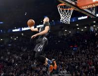 Feb 13, 2016; Toronto, Ontario, Canada; Minnesota Timberwolves guard Zach LaVine competes during the dunk contest during the NBA All Star Saturday Night at Air Canada Centre. Mandatory Credit: Bob Donnan-USA TODAY Sports