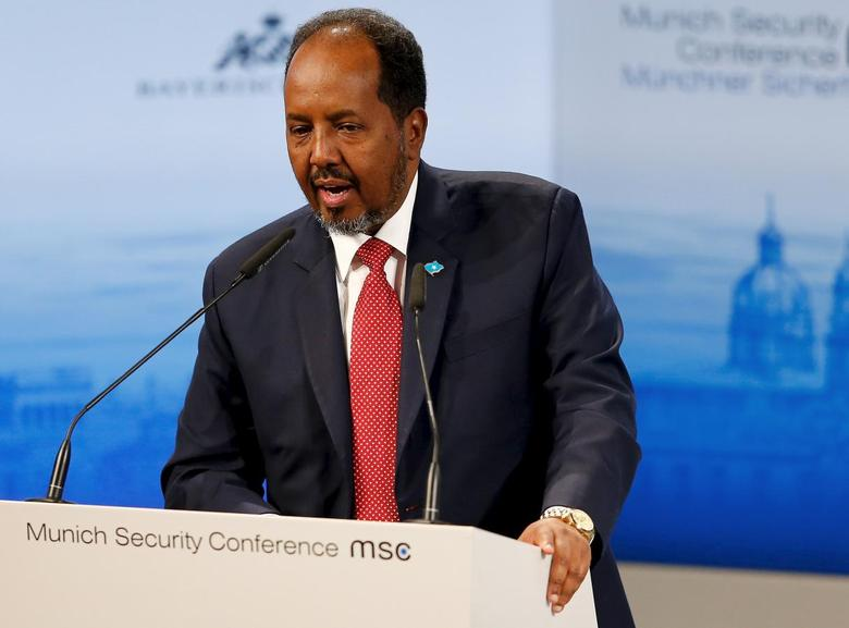 Hassan Sheikh Mohamud, President of Somalia, speaks at the Munich Security Conference in Munich, Germany, February 14, 2016.       REUTERS/Michael Dalder
