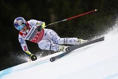 Lindsey Vonn of the U.S. skis during the Alpine Skiing World Cup women's Super G race in the Bavarian ski resort of Garmisch-Partenkirchen, Germany, February 7, 2016. REUTERS/Dominic Ebenbichler