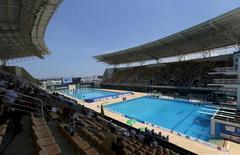 Vista do parque aquático Maria Lenk, no Rio de Janeiro, durante evento-teste para  Rio 2016.   REUTERS/Sergio Moraes