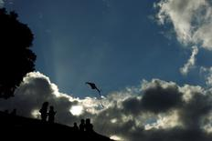 People fly a kite at the Peace Park in San Jose, January 10, 2013. The summer season is starting in Costa Rica, reported local media.  REUTERS/Juan Carlos Ulate