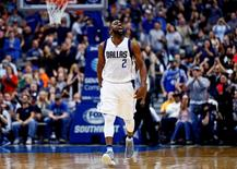 Feb 26, 2016; Dallas, TX, USA; Dallas Mavericks guard Raymond Felton (2) reacts after scoring in overtime against the Denver Nuggets at American Airlines Center. Mandatory Credit: Kevin Jairaj-USA TODAY Sports
