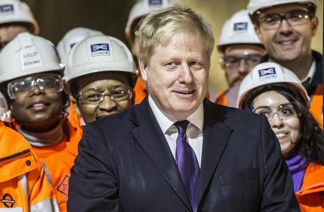 London mayor Boris Johnson smiles as he attends Britain's Queen Elizabeth formal unveiling of the new logo for Crossrail, which is to be named the Elizabeth line, at the construction site of the Bond Street station in central London, February 23, 2016.   REUTERS/Richard Pohle/Pool
