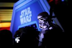 """A character in costume takes part of an event held for the release of the film """"Star Wars: The Force Awakens"""" in Disneyland Paris in Marne-la-Vallee, France, December 16, 2015. REUTERS/Benoit Tessier"""