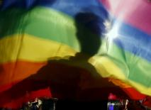 A gay man is silhoutted on a gay rainbow flag during a demonstration for gay rights in Hanoi, Vietnam, November 24, 2015. REUTERS/Kham