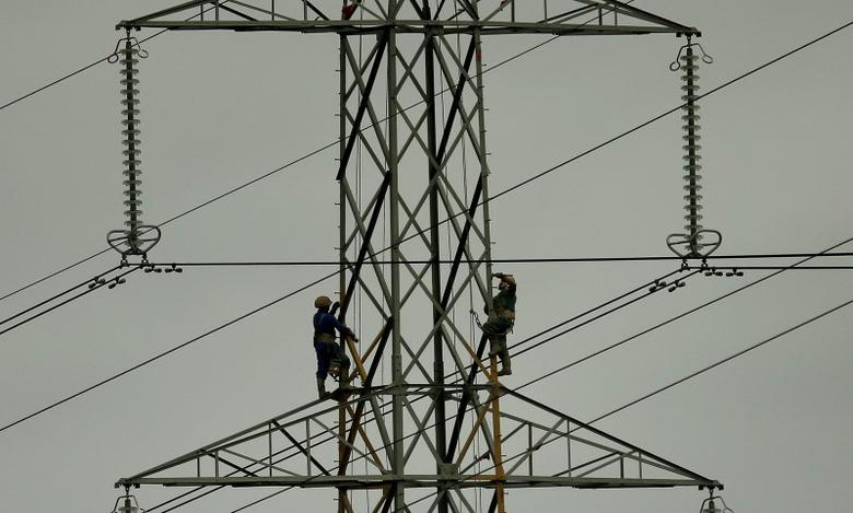 Workers paint an electricity pylon near Lymm, northern England February 18, 2015. REUTERS/Phil Noble