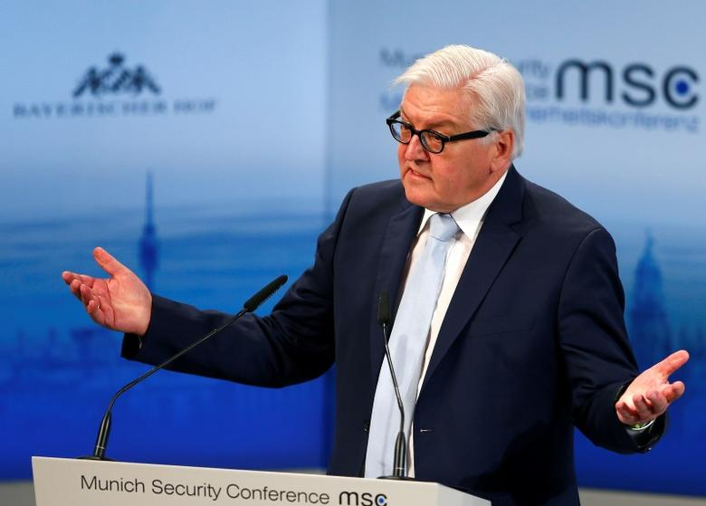 German Foreign Minister Frank-Walter Steinmeier delivers a speech at the Munich Security Conference in Munich, Germany, February 13, 2016.       REUTERS/Michael Dalder