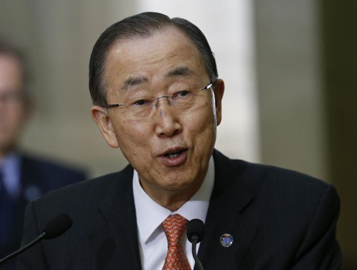 United Nations Secretary-General Ban Ki-moon attends a news conference at the U.N. European headquarters in Geneva, Switzerland, February 29, 2016.  REUTERS/Denis Balibouse