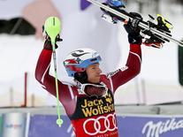 Alpine Skiing - Alpine Skiing World Cup - Slalom men's second run - Kranjska Gora, Slovenia - 6/3/16 - Henrik Kristoffersen of Norway reacts  REUTERS/Antonio Bronic