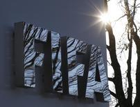 The FIFA logo is seen outside the FIFA headquarters in Zurich, Switzerland December 17, 2015. REUTERS/Ruben Sprich