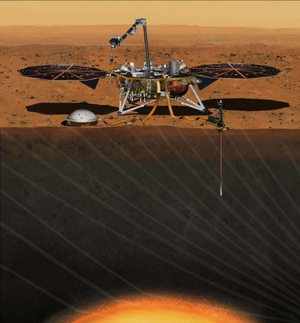 The NASA Martian lander InSight dedicated to investigating the deep interior of Mars is seen in an undated artist's rendering.  NASA on Wednesday said it would fix the InSight lander that was grounded in December due to a leak in its primary science instrument, putting the mission back on track for another launch attempt in 2018.  REUTERS/NASA/JPL-Caltech/Handout via Reuters