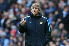Pellegrini em jogo do Manchester City com o Aston Villa.  5/3/16.  Reuters/Jason Cairnduff