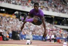 File photo of USA's Marquis Dendy in action during the Men's Long Jump. Athletics - IAAF Diamond League 2015 - Sainsbury's Anniversary Games - Queen Elizabeth Olympic Park, London, England - 25/7/15. Reuters / Phil Noble