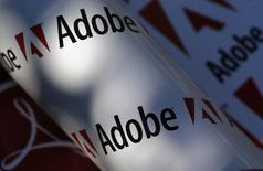 L'éditeur de logiciels Adobe Systems affiche des résultats trimestriels meilleurs qu'attendu grâce à la croissance du nombre d'abonnés à son service d'outils dématérialisés Creative Cloud. Le concepteur de Photoshop a fait état d'un bénéfice net de 254,3 millions de dollars (224,8 millions d'euros) sur son premier trimestre clos le 4 mars, contre 84,9 millions un an plus tôt. /Photo d'archives/REUTERS/Leonhard Foeger