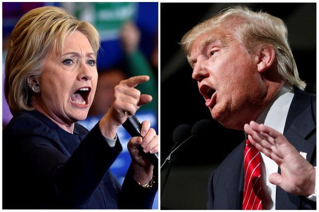3月23日、米大統領選挙の民主、共和両党の指名候補争いでトップを走るクリントン氏(左)とトランプ氏(右)は、それぞれが掲げる経済公約で見ると、実際に大統領になった場合に米国にもたらす結果は大いに違ってくるだろう。それぞれネバダ州で2月、アリゾナ州で昨年7月撮影(2016年 ロイター/David Becker/Nancy Wiechec/Files)
