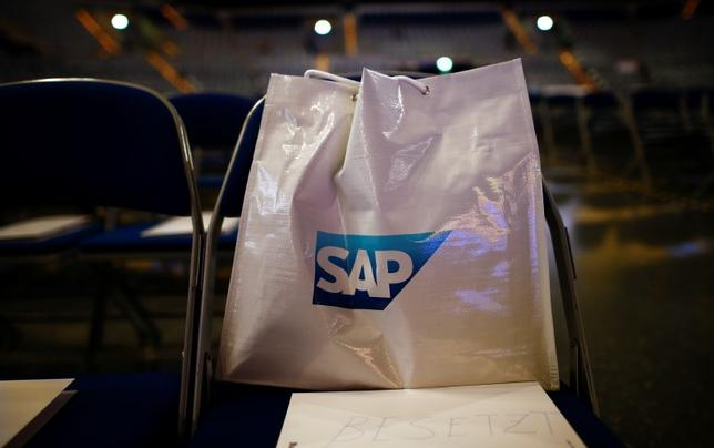A bag with SAP logo is pictured before the company's annual general meeting in Mannheim, Germany, May 20, 2015.  REUTERS/Kai Pfaffenbach