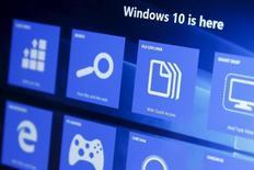 Windows 10 compte 270 millions d'utilisateurs actifs, a annoncé mercredi Microsoft, huit mois après le lancement de son dernier système d'exploitation. /Photo prise le 29 juillet 2015/REUTERS/Shannon Stapleton