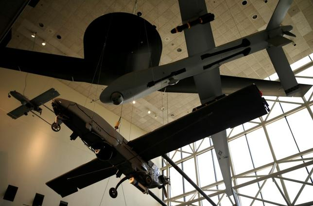 Various U.S. military drones are seen at the Smithsonian National Air and Space Museum in Washington September 1, 2015.    REUTERS/Gary Cameron