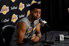 Mar 30, 2016; Los Angeles, CA, USA; Los Angeles Lakers guard D'Angelo Russell (1) at press conference related to forward Nick Young (0) at Staples Center. Richard Mackson-USA TODAY Sports