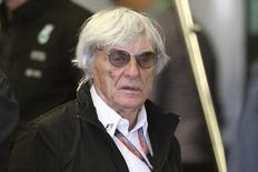 Formula One supremo Bernie Ecclestone walks in the Mercedes team garage during the third practice session of the Canadian F1 Grand Prix at the Circuit Gilles Villeneuve in Montreal June 6, 2015. REUTERS/Chris Wattie