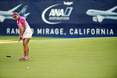 Apr 2, 2016; Rancho Mirage, CA, USA; Lexi Thompson attempts a putt for an eagle on the 18th hole during the third round of the ANA Inspiration tournament at Mission Hills CC - Dinah Shore Tournament Course. Mandatory Credit: Kelvin Kuo-USA TODAY Sports