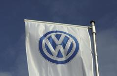A flag of a Volkswagen VW car dealer is seen in Bochum, Germany March 16,2016. REUTERS/Ina Fassbender