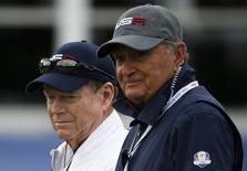 Tom Watson (L) and  Raymond Floyd watch play during practice ahead of the 2014 Ryder Cup at Gleneagles in Scotland September 25, 2014.  REUTERS/Russell Cheyne