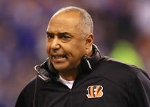 Jan 4, 2015; Indianapolis, IN, USA; Cincinnati Bengals head coach Marvin Lewis reacts in the first half against the Indianapolis Colts in the 2014 AFC Wild Card playoff football game at Lucas Oil Stadium. Mandatory Credit: Andrew Weber-USA TODAY Sports