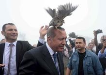 Рябчик приземляется на голову президента Турции Тайипа Эрдогана в городе Ризе 14 августа 2015 года. Эрдоган подал жалобу на комика, который прочел посвященные ему скабрезные сатирические стихи в эфире немецкого ТВ. Недовольство турецкого лидера усложняет попытки Берлина добиться помощи Турции в решении кризиса с мигрантами. REUTERS/Stringer