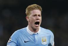 Kevin De Bruyne comemora gol do Manchester City sobre o Paris St Germain.  12/4/16.  Reuters/Andrew Yates.