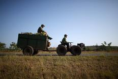 El agricultor Wilber Sánchez conduce un tractor cerca de San Antonio de los Baños, en la provincia de Artemisa, en Cuba. 13 de abril de 2016. Los agricultores de Cuba, en medio de siembras de caña de azúcar, parcelas de vegetales y terrenos baldíos, están molestos por lo que consideran un retroceso en las reformas de mercado prometidas por el Gobierno cubano para mejorar sus condiciones. REUTERS/Alexandre Meneghini