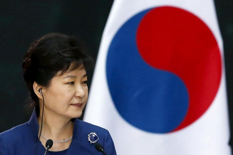 South Korean President Park Geun-Hye is seen during a welcome ceremony at the National Palace in Mexico City, April 4, 2016. REUTERS/Edgard Garrido