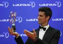Djokovic ganha prêmio Laureus em Berlim.  18/4/2016.  REUTERS/Hannibal Hanschke