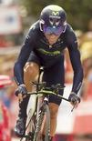 MovistarTeam rider Alejandro Valverde of Spain competes during the 17th stage individual time trial of the Vuelta Tour of Spain cycling race in Burgos, Spain, September 9, 2015. REUTERS/Joseba Etxaburu