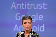 European Competition Commissioner Margrethe Vestager addresses a news conference in Brussels, Belgium, April 20, 2016. REUTERS/Francois Lenoir