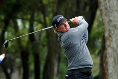 Charley Hoffman tees off on the 9th hole during the second round of the RBC Heritage golf tournament at Harbour Town Golf Links. Mandatory Credit: Jason Getz-USA TODAY Sports