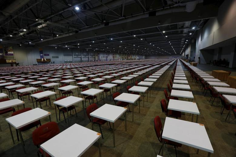 Tables are seen one day before SAT examinations in Hong Kong, October 2015. REUTERS/Bobby Yip