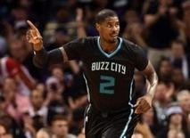 Apr 23, 2016; Charlotte, NC, USA; Charlotte Hornets forward Marvin Williams (2) reacts after scoring during the second half in game three of the first round of the NBA Playoffs against the Miami Heat at Time Warner Cable Arena. Sam Sharpe-USA TODAY Sports