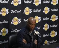 Los Angeles Lakers head coach Byron Scott at press conference related to guard D'Angelo Russell (1) and forward Nick Young (0) at Staples Center. Mandatory Credit: Richard Mackson-USA TODAY Sports