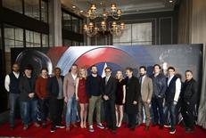 """Cast and Crew members of the film pose for photographers at a media event ahead of the release of, """"Captain America: Civil War"""", in London, Britain, April 25, 2016. REUTERS/Peter Nicholls"""